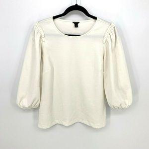 Ann Taylor 3/4 Blouson Sleeve Solid Crinkle Blouse